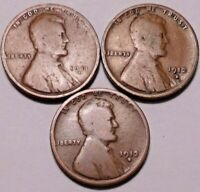 1911 D 1912 D 1913 D LINCOLN WHEAT CENT PENNY - 3 BETTER DATE COINS