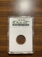 1882-P MPD FND-003 PLATE INDIAN HEAD PENNY CENT 1C ANACS MINT STATE 61 RED BROWN RB