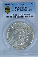 1900-O MORGAN DOLLAR VAM-15 PCGS MINT STATE 64 SECURE SHIELD DOUBLED STARS TOP 100