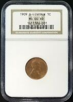 1909 S LINCOLN CENT CERTIFIED MINT STATE 64 RD BY NGC