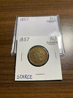 1857-P BRAIDED HAIR HALF CENT 1/2C ALMOST UNCIRCULATED AU CLEANED