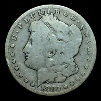 1880-CC $1 MORGAN SILVER DOLLAR  AG ABOUT GOOD DETAILS  CLEANED  TRUSTED