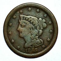1855 BRAIDED HAIR HALF CENT  FINE F DETAILS  1/2C CLEANED  TRUSTED