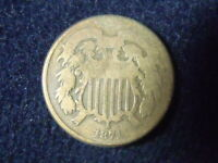 1871 TWO CENT PIECE 2C G DETAILS GOOD US COPPER COIN OLD TIME CLEANING  C-30