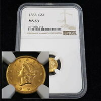 1853 US LIBERTY HEAD $1 ONE DOLLAR GOLD NGC MS63 TYPE 1 COLL