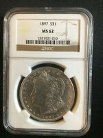 1897 MORGAN SILVER DOLLAR NGC MINT STATE 62