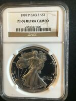 1997 AMERICAN PROOF SILVER EAGLE NGC PF68 ULTRA CAMEO