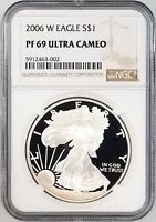 2006 W PROOF SILVER EAGLE CERTIFIED PF 69 ULTRA CAMEO BY NGC