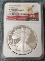 2019 S NGC PF70 AMERICAN SILVER EAGLE DOLLAR ULTRA CAMEO PROOF. FIRST RELEASES