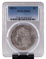 1895-S $1 SILVER MORGAN DOLLAR GRADED BY PCGS AS MINT STATE 60 KEY DATE, HIGH GRADE