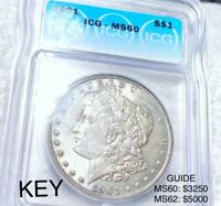 1901 MORGAN SILVER DOLLAR ICG, MINT STATE 60
