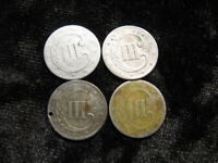 4 TINY SILVER OLD COIN LOT USA 3 CENT