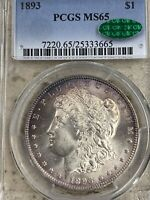 1893 MORGAN SILVER DOLLAR, PCGS MINT STATE 65 CAC