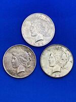 1923 1924 & 1925 PEACE SILVER DOLLAR COINS   FREE SHIPPING