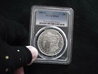 1881-S PCGS- MINT STATE 63 MORGAN SILVER  WHITE FROSTY LUSTER