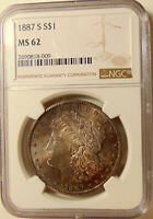 1887-S MORGAN SILVER DOLLAR - BETTER DATE - NGC MINT STATE 62 - PRETTY PQ TONED BU COIN