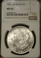 1921 MORGAN SILVER DOLLAR  NGC MINT STATE 66  CENTURY ANNIVERSARY  BLAZING WHITE