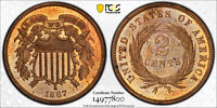 1867 P TWO CENT PIECE 2C PCGS PROOF PR 64 RED BROWN  RB   ONLY 625 MINTED