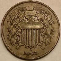 1864 TWO 2 CENT PIECE  LARGE MOTTO FINE/VF CONDITION  B