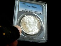 P/Q. PCGS 1885-P MINT STATE 63- MORGAN SILVER DOLLAR  COIN  LUSTER.
