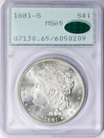 1881 S MORGAN DOLLAR - PCGS MINT STATE 65 CAC - OLD RATTLER SLAB