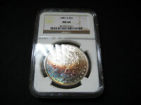 1881 S MORGAN SILVER DOLLAR UNC BU COINRIANBOW COLORFUL TONING NGC MINT STATE 64