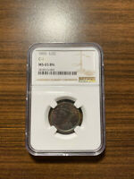 1855-P BRAIDED HAIR HALF CENT 1/2C NGC MINT STATE 65 BROWN BN C-1