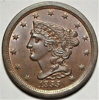 1855 BRAIDED HAIR HALF CENT GEM UNCIRCULATED UNC PROBLEM FREE 1/2C TYPE COIN
