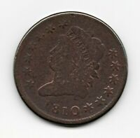 1810 CLASSIC HEAD LARGE CENT FULL LIBERTY CLEAR DATE GOOD COLOR