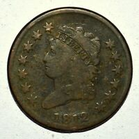 1812 CLASSIC HEAD LARGE CENT  VG  GOOD DETAILS  1C  NOW TRUSTED