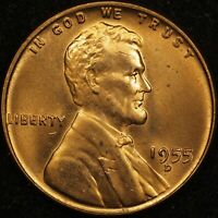 1955 D LINCOLN WHEAT CENT RPM 009  BU UNCIRCULATED RED