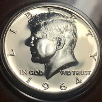 1964 KENNEDY HALF ACCENTED HAIR VERY CHOICE SILVER PROOF