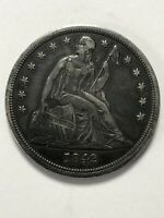 1842 SEATED LIBERTY SILVER DOLLAR, ALMOST UNCIRCULATED, CHOICE COIN