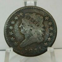 1814 US ONE CENT - CROSS 4 - 1C UNITED STATES CLASSIC HEAD LARGE CENT - H1624