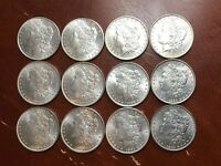 LOT OF 12 UNC/BU MORGAN DOLLARS ALL DIFFERENT DATES 1878 S 1904 O 1884 O