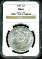 1887 $1 MORGAN SILVER DOLLAR MINT STATE 64 NGC 3695614-049
