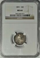 1891 10C NGC MINT STATE 64 NEAR GEM UNCIRCULATED UNC SEATED LIBERTY DIME TYPE COIN