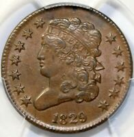 1829 1/2C, CLASSIC HEAD, PCGS  AU58, C-1, THE ONLY KNOWN DIES, R-1, GOLD SEAL