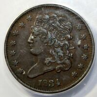 1834 1/2C, CLASSIC HEAD, ANACS  EF 45, C-1, THE ONLY KNOWN DIES, R-1,