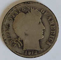 1912-D BARBER SILVER DIME GOOD CONDITION