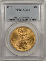 1926 $20 ST GAUDENS GOLD - PCGS MINT STATE 65