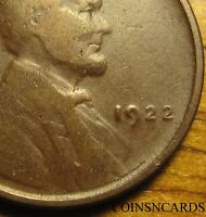 1922 1C NO D LINCOLN CENT DIE 2 STRONG REVERSE KEY ERROR FINE VF