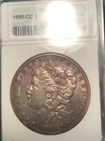 ANACS AU50 1889 CC MORGAN DOLLAR OLD HOLDER  PLEASING AND ORIGINAL