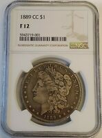 1889-CC MORGAN SILVER DOLLAR $1 CARSON CITY NGC FINE F 12