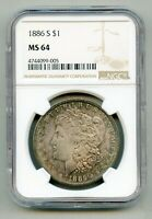 1886 S MORGAN SILVER DOLLAR NGC MINT STATE 64