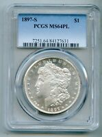 1897 S MORGAN SILVER DOLLAR PCGS MINT STATE 64 PL PROOF LIKE
