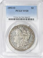 1893 O MORGAN SILVER DOLLAR  PCGS VF20  LOW MINTAGE, KEY DATE