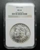 1892-O MORGAN SILVER DOLLAR COIN $1 NGC GRADED MINT STATE 64 -