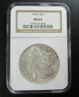 1903 MORGAN SILVER DOLLAR COIN $1 NGC GRADED MINT STATE 64