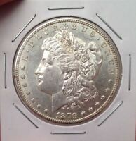 1879-S REVERSE OF '78 MORGAN DOLLAR VAM-52 PAF, DOUBLED 7, ENGRAVED WING FEATHER